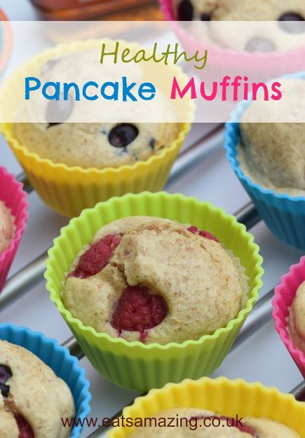 Healthy Pancake Muffins Recipe - A fun breakfast idea for kids from Eats Amazing UK - a new way to serve pancakes for pancake day too!