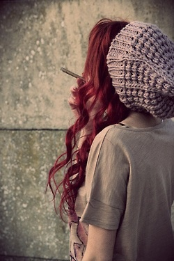 long red hair and beanie