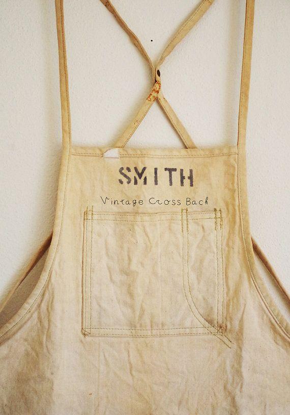 Vintage work apron crossback by jliii on etsy i like for Vintage sites like etsy