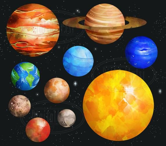 Watercolor Planets Clipart Solar System Download Instant Download Watercolor Planets Graphics Mars Earth Jupiter Saturn Planets Art Planet Drawing Space Art