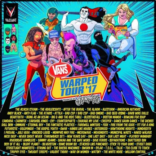 Vans Warped Tour 2017 Lineup Revealed - http://www.okgoodrecords.com/blog/2017/03/24/vans-warped-tour-2017-lineup-revealed/ - The Vans Warped Tour 2017 lineup has been officially announced! This year marks the 23rd year of the traveling music festival. Vans Warped Tour will kick off June 12th in Seattle and will close on August 5th in San Diego. This year's lineup is jam packed with over 90 acts already... - American Authors, anti flag, blessthefall, Dance Gavin Dance,
