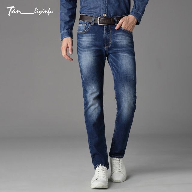 Special price Tanliyinfu boutique denim men's brand Lycra men blue jeans letters decorated large slim slim trousers just only $26.00 with free shipping worldwide  #jeansformen Plese click on picture to see our special price for you