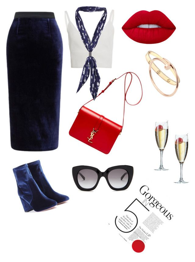 """Untitled #179"" by ezerys on Polyvore featuring Zeynep Arçay, Roland Mouret, Aquazzura, Yves Saint Laurent, Lime Crime, Cartier and Kate Spade"