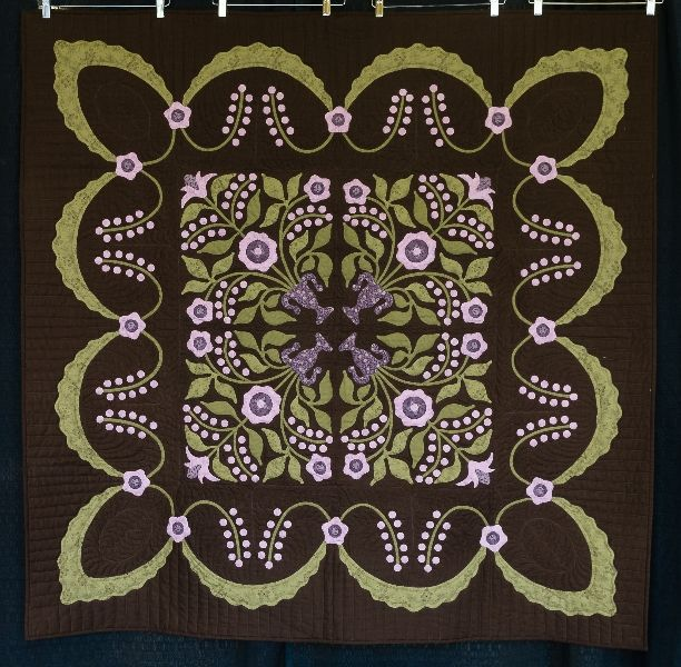 """Lily Rosenberry"" by JoAnn Hopkins - 1st Place - Small Applique' by One. 2012 Boise Basin Quilters' Guild show (Idaho).  Design by Sue Garman."