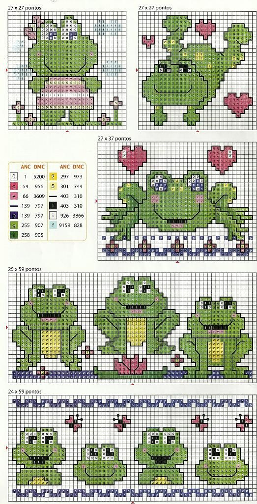 cross-stitch, frogs   (...cr...each of these are small enough for a small area)
