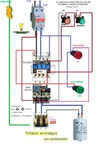 Esquemas eléctricos: Conexión de un motor trifasico a una red monofásic...