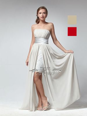 Elegant Strapless Bridesmaid Dress with Short Lace Skirt Inside
