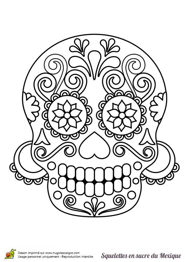 A colorier, une tête de mort portant des boucles d'oreilles.