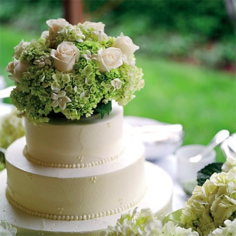 Simple white buttercream blanketed luscious layers of chocolate-and-lemon wedding cake.  read the full story ››  DETAILS    Cake Shape: Round Or Oval  Color: Green, White/Ivory  Decorations: Flowers  Real Weddings: Real Weddings  Wedding Style: Classic