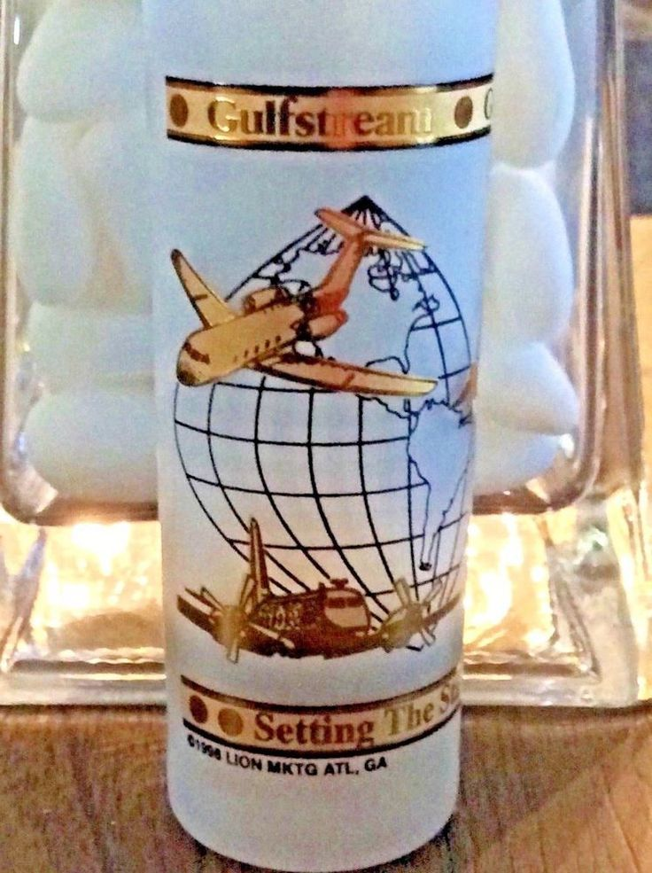 Gulfstream Aerospace Vintage Double Shot Glass 24k Gold Details Free Shipping #LionMarketing