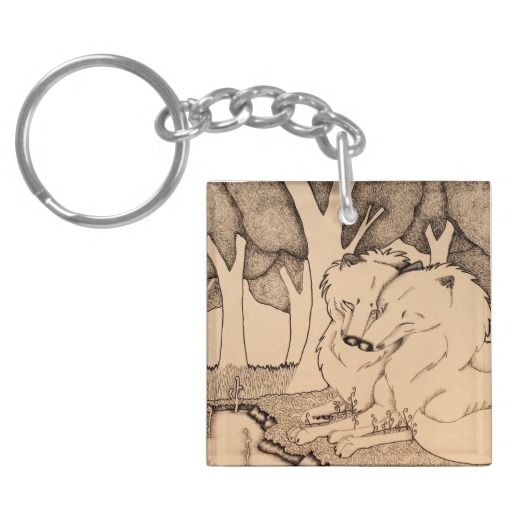 """She'll set you free"" Cute nuzzling wolf couple illustration Keychain"