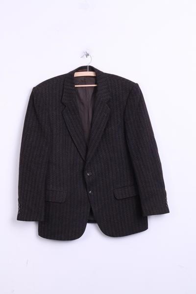 Francis Galay Mens 54 XL Blazer Jacket Wool Herringbone Brown Single Breasted - RetrospectClothes