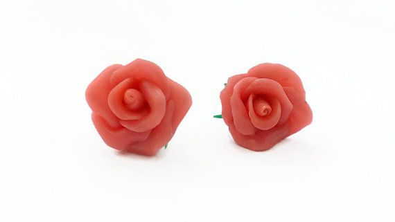 Earring studs jewelry rose from polymer clay handmade от VinTESA