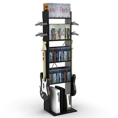 NEW Video Game Console Controller Stand Storage Rack Games Guitar XBOX PS3 Black