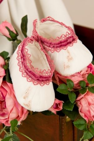 """Cute baby girl bootees, with pretty embroidery, matching the """"Anastacia"""" dress.  http://www.petitecoco.ro/shop/en/home/30-anastacia-bootees.html"""