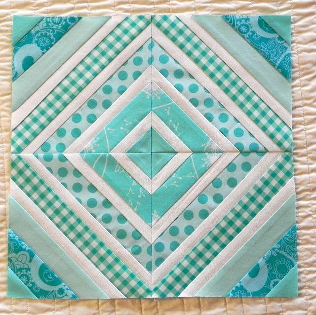 Aqua and white quilt block
