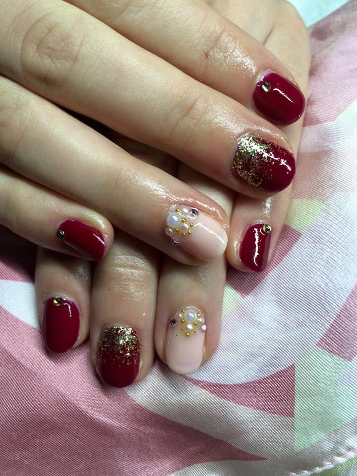 princess style gel lac nail, rhinestones. cute red, light pink, golden powder