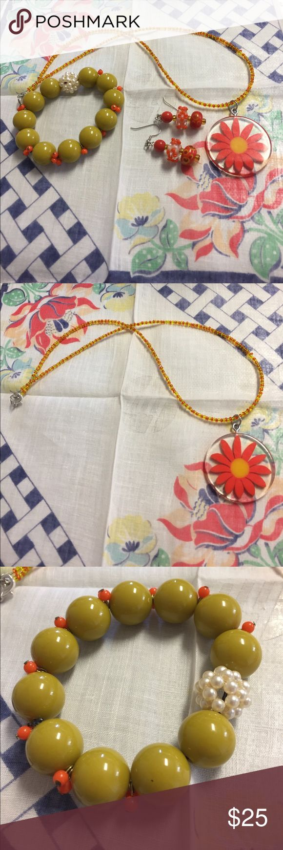 Bundle of matching necklace earrings and earrings The earrings are pierced glass Floral and polka dot pierced earring measure 1 1/4 inches. The pendant is Acrylic orange yellow daisy on Seed Beaded necklace that measures 18 inches. The pendant measures 1 3/4 inch.  The beads in the bracelet are acrylic strung on stretch cord Jewelry Necklaces
