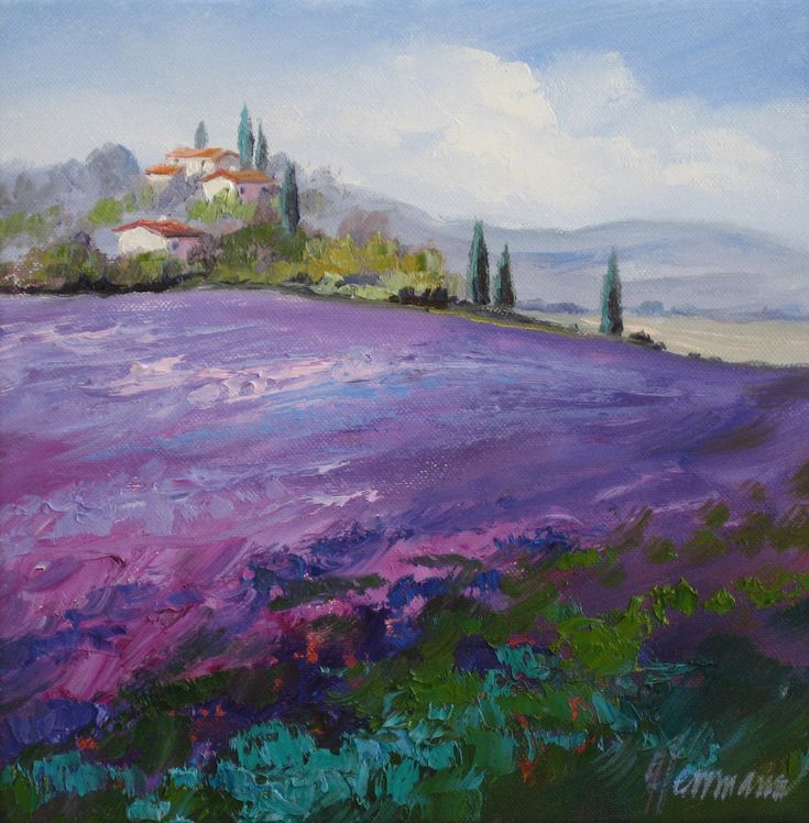 Leuchtend blau violette Lavendelfelder im Luberon in der Provence, Frankreich | Original Gemälde von Ute Herrmann