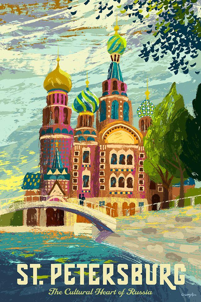 Vintage #travel poster : #StPetersburg / Ancienne affiche de #voyage : St Petersbourg