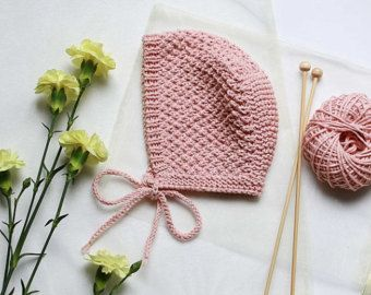 Baby Bonnet, baby Hat, Hand knit Bonnet, Newborn Hat, Baby Cap, Cotton Bonnet, baby knitwear