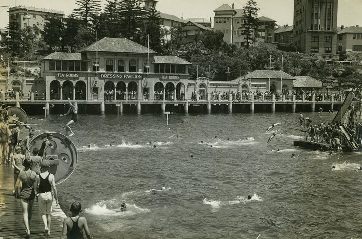 Manly Harbour pool in the 1930's,located near the Ferry Wharf at Manly,N.S.W.   v@e.