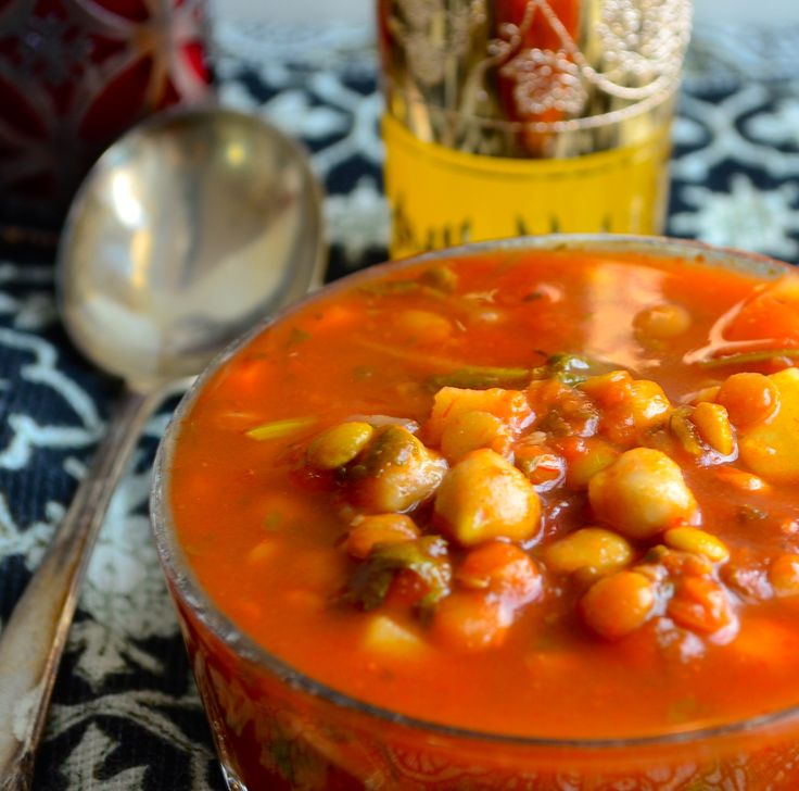 """Moroccan Style Vegetable Soup (""""Harira"""") [Note: Don't use canned goods] http://mayihavethatrecipe.com/2013/01/07/meatless-monday-morrocan-style-vegetable-soup-harira/"""