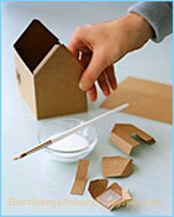 Как склеить новогодний домик из картона