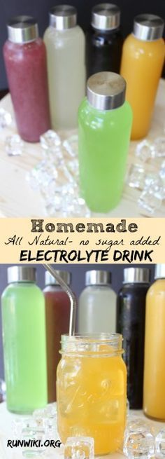 DIY Homemade All Natural Sugar Free Electrolyte Sports Drink Drink- Gatorade and other store bought drinks are full of sugar and artificial junk- not only is this recipe quick and easy to make, you can make ahead and store in the frig for up to two weeks. can be frozen into pops. Running motivation | fitness tips