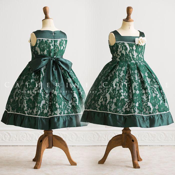商品番号: PC615 子供ドレス 花柄レースボックスタックドレス コサージュ付き 120 130 140 150 160 黒 赤 緑 発表会 結婚式 キッズ ジュニア フォーマル PC615 kids dress