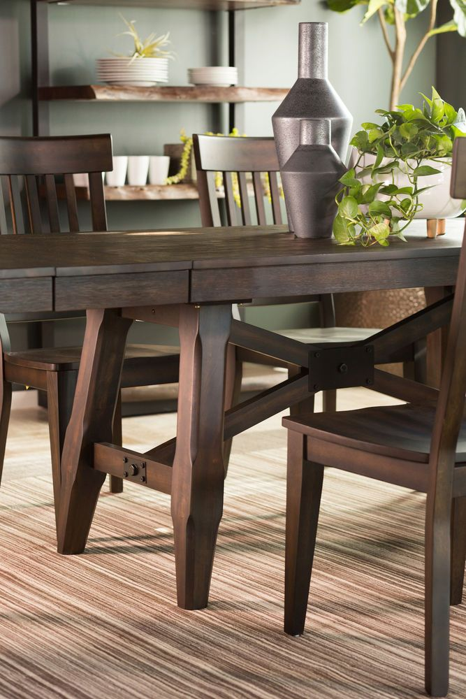 Navy And Gold Dining Room, Traditional 72 To 96 Dining Table In Dark Brown Mathis Brothers Furniture Dining Dining Table Table