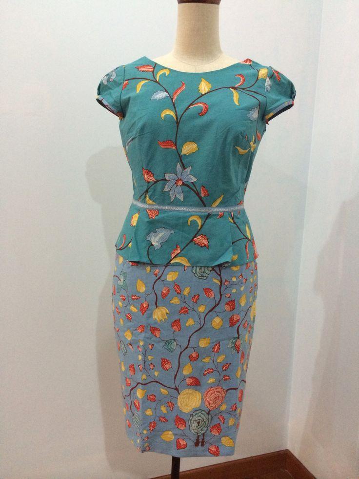Modified anggun dress made from batik tulis Cirebon. Dress is made by Dongengan (Facebook: https://m.facebook.com/dongengan)