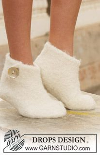 """Felted DROPS slippers in 2 threads """"Alpaca"""" ~ DROPS Design"""