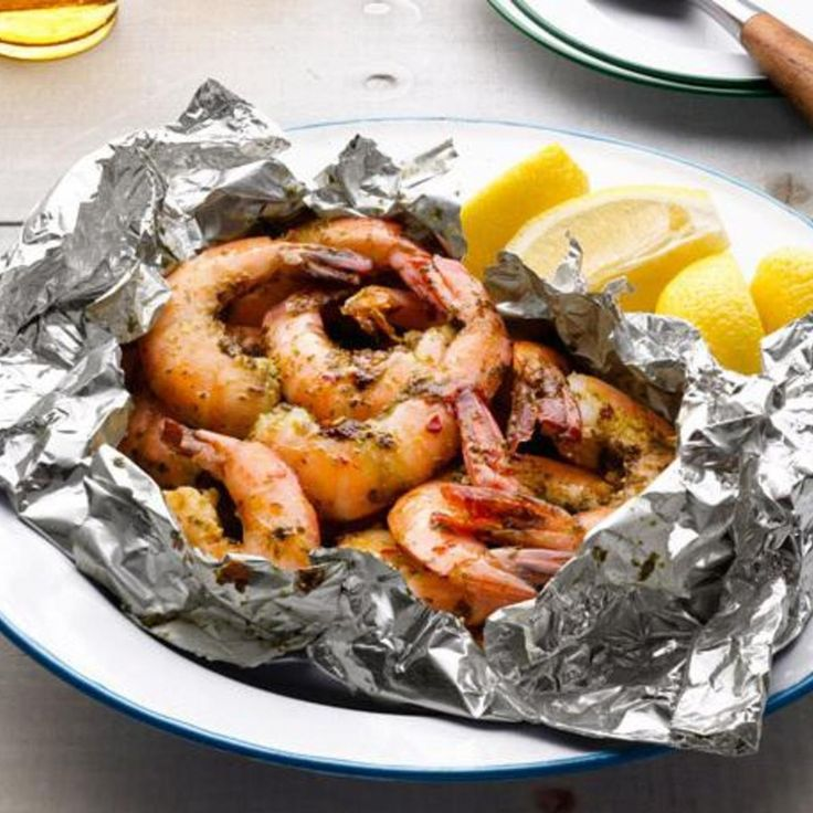 Grilled Garlic Shrimp in Foil