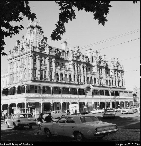 1941- Vehicles and pedestrians outside Shamrock Hotel