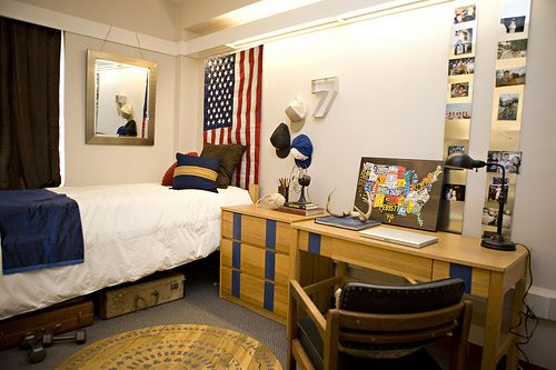 Use vinyl on desk to change the look.  Dorm Room Decorating Ideas for Guys - The OCM Blog
