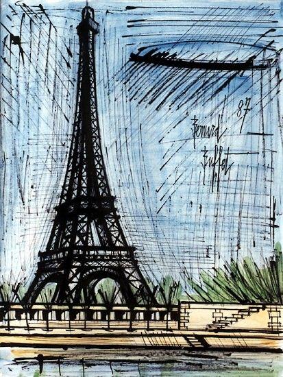 La Tour Eiffel, mixed media on paper, 65 x 50 cm, 1987. Musée Bernard Buffet.