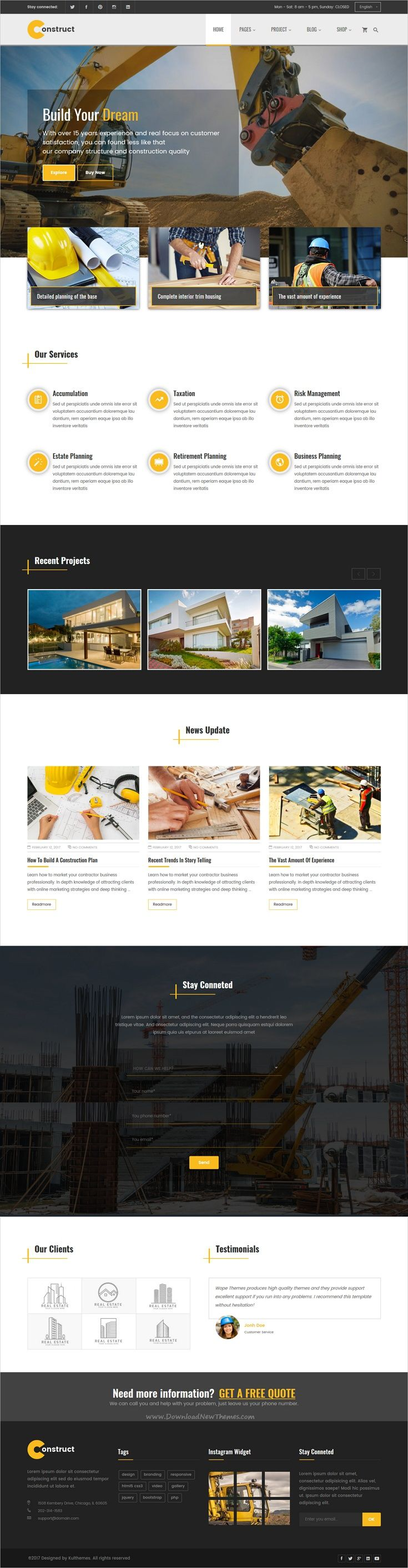 Construct is clean and modern design 5in1 responsive #HTML template fro #construction and #building agencies professional website download now > https://themeforest.net/item/construction-building-business-html-template/19814448?ref=Datasata