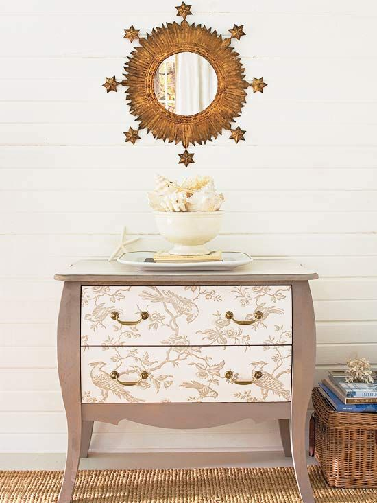A fresh coat of paint and patterened wallpaper gave this vintage dresser a fun update. More fabulous decorating projects: http://www.bhg.com/decorating/do-it-yourself/accents/fast-and-fabulous-decorating-projects/?socsrc=bhgpin080912updatedresserwithwallpaper#page=21