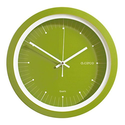 Green home décor is super cute and trendy especially green  wall art.  Easily deck the walls of your  home with cute green wall clocks, green canvas art, and green metal art.  Mix and match different textures to create  depth. You find all shades of green from emerald, lime, forest and even  Jade.        A.Cerco Non Ticking Silent Modern Wall Clock - 13