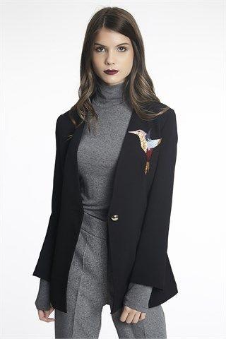 Kuş Nakış Detaylı Ceket Siyah