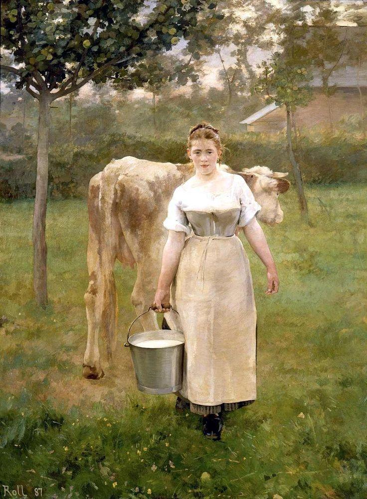 Manda Lamétrie, fermière, par Alfred ROLL (1887). Amanda, dite Manda Lamétrie, était une paysanne de Sainte-Marguerite-sur-Mer (Seine-Maritime). Musée d'Orsay.