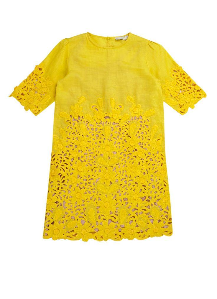 Stella McCartney Kids Gele kanten jurk • de Bijenkorf