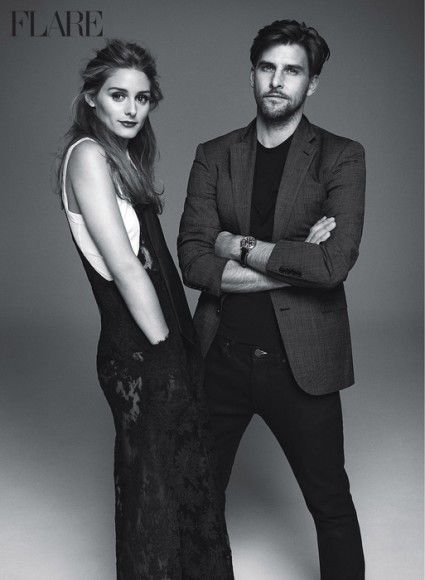 Olivia appears alongside her husband, Johannes Huebl, in this issue of Flare Magazine.