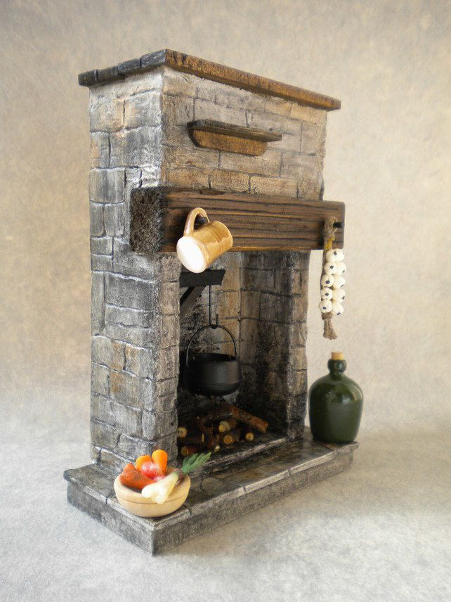 Dolls House Stone Kitchen Fireplace - Tudor, Medieval, Cottage, Rustic £23.95