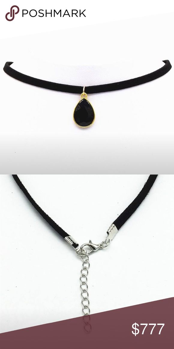 Coming Soon! Black Velvet Choker Necklace Black velvet leather choker with black water drop jewel pendant. $10 when they arrive Jewelry Necklaces