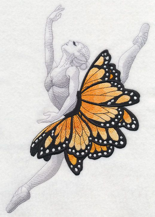Single butterfly ballet dancer embroidered quilt block ( stitched prior )