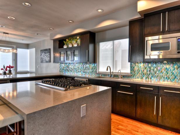 Waterfall Island - Gorgeously Dark Modern Kitchen on HGTV