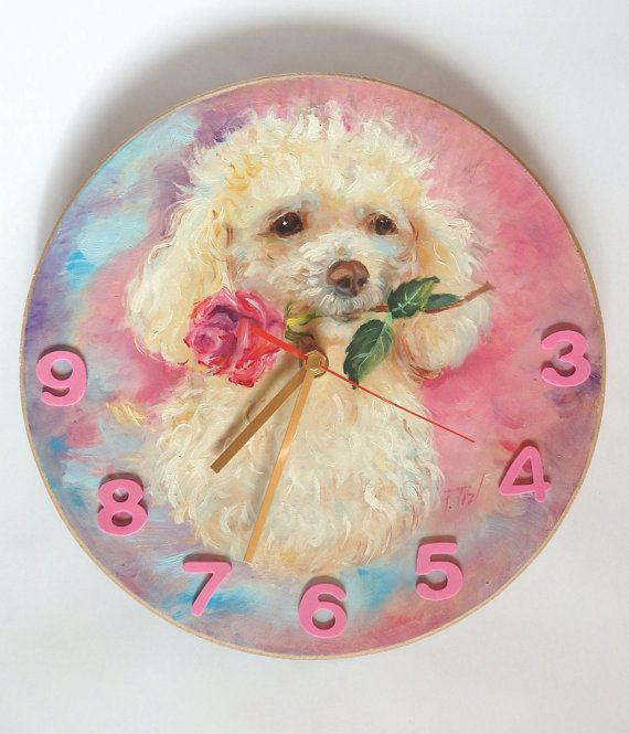 Poodle portrait PAINTED CLOCK DOG portrait by CanisArtStudio