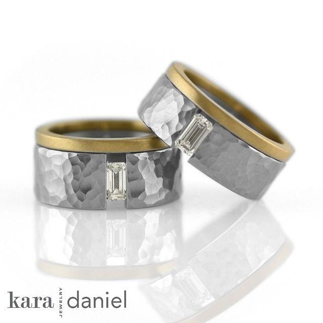 emerald-cut diamond ~ tension-set in stainless, 22k wedding band   #karadanieljewelry #weddingrings #bespoke